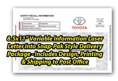 8.5 x 11 inch Variable Informtion Laser Letter Into Snap-Pak Style Delivery Package-Includes Design, Printing and Shipping to Post Office.